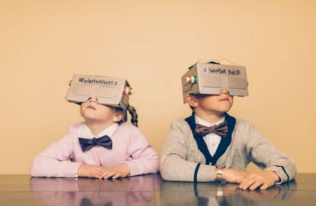 Two children enjoying their own home-made virtual reality. Picture: RichVintage on Istockphotos